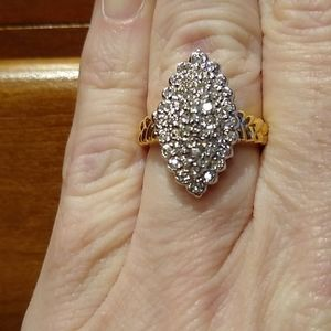 Pave style diamond ring set in 14 kt white gold